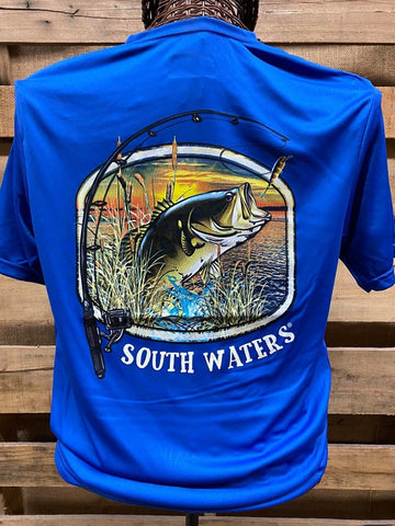 Backwoods South Waters Fishing Bass A-4 Cooling Royal Blue Bright Unisex T Shirt