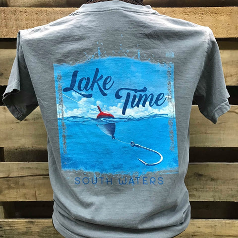 Backwoods South Waters Lake Time Fishing Bright Comfort Colors Unisex T Shirt