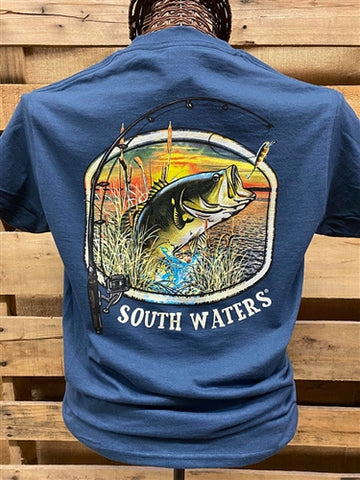 Backwoods South Waters Fishing Bass Bright Unisex T Shirt
