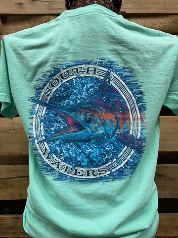 Backwoods South Waters Fishing Marlin Comfort Colors Bright Unisex T Shirt