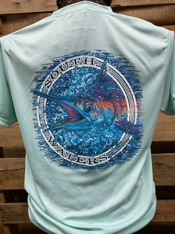 Backwoods South Waters Fishing Marlin A-4 Cooling Pastel Mint Bright Unisex T Shirt