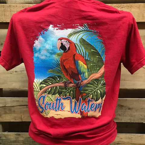 Backwoods South Waters Island Parrot Bird Bright Comfort Colors Unisex T Shirt