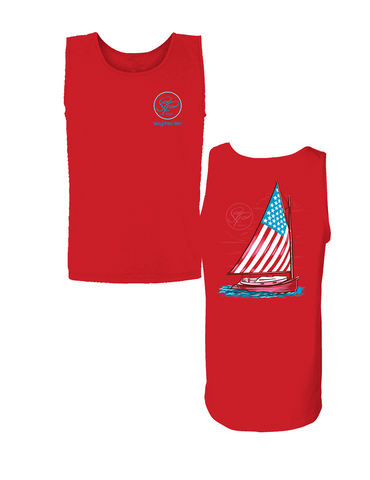 Sassy Frass America USA Flag Sailboat Comfort Colors Bright T Shirt Tank Top