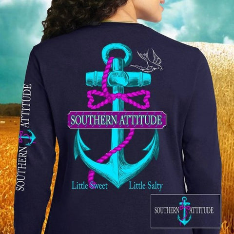Country Life Outfitters Southern Attitude Anchor Bow Navy Vintage Girlie Bright Long Sleeves T Shirt - SimplyCuteTees