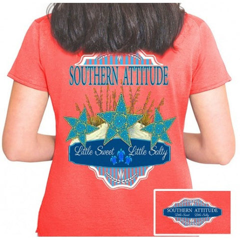 Country Life Outfitters Southern Attitude Coral Starfish Vintage Girlie Bright T Shirt - SimplyCuteTees