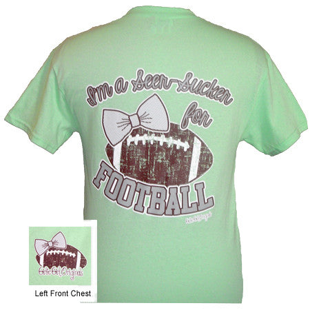 Girlie Girl Originals I'm a Seer-Sucker for Football Mint Green Bright T Shirt