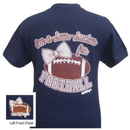 Girlie Girl Originals I'm a Seer-Sucker for Football Bow Navy Blue Bright T Shirt
