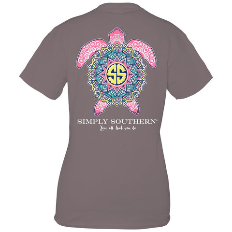 Simply Southern Preppy Boho Gray Turtle Collection T-Shirt
