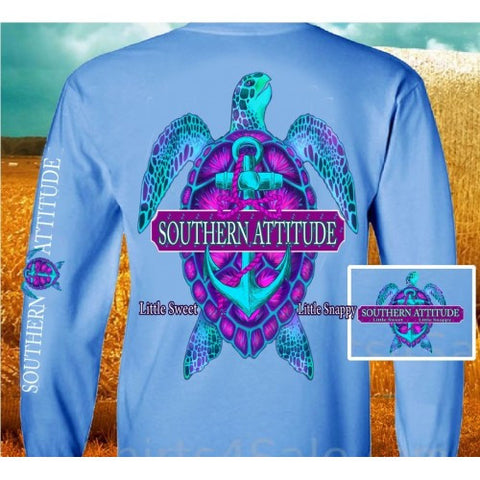 Country Life Outfitters Southern Attitude Snappy Turtle Anchor Bow Carolina Blue Vintage Girlie Bright Long Sleeve T Shirt - SimplyCuteTees