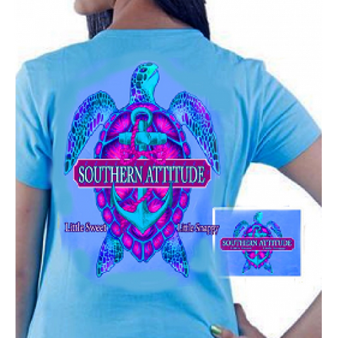 Country Life Outfitters Southern Attitude Snappy Turtle Anchor Bow Carolina Blue Vintage Girlie Bright T Shirt - SimplyCuteTees