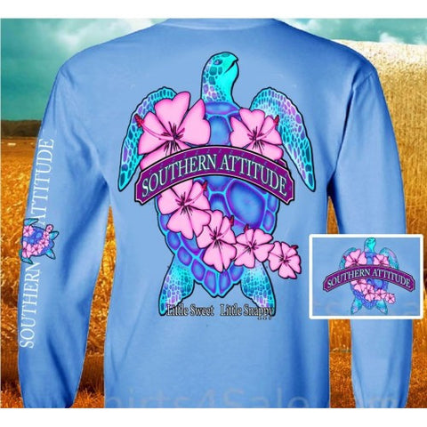 Country Life Outfitters Southern Attitude Snappy Sea Turtle Flower Carolina Blue Vintage Girlie Bright Long Sleeve T Shirt - SimplyCuteTees