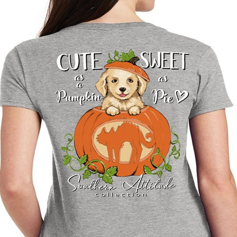 Southern Attitude Preppy Pumpkin Puppy Grey Fall T-Shirt