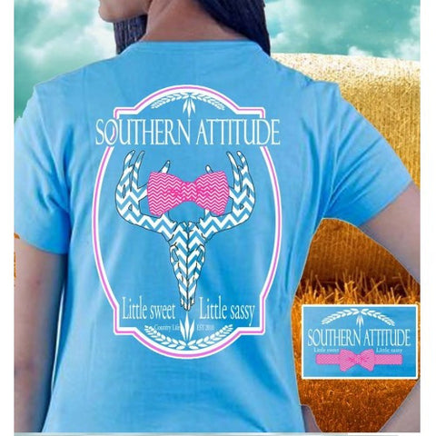 Country Life Outfitters Blue Southern Attitude Chevron Deer Skull Bow Hunt Bright T Shirt - SimplyCuteTees