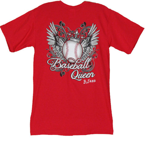 Bjaxx Baseball Queen Crown Wings Sports Girlie Bright T Shirt - SimplyCuteTees