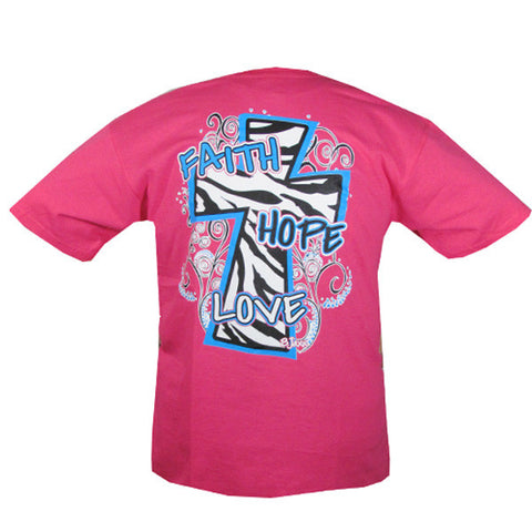 Bjaxx Faith Hope & Love Zebra Cross Pink Christian Girlie Bright T Shirt - SimplyCuteTees
