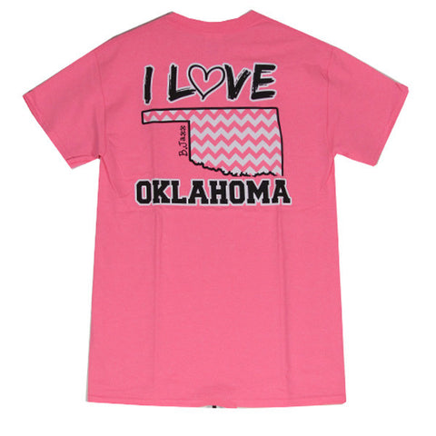 Bjaxx I Love Oklahoma Chevron State Southern Girlie Bright T Shirt - SimplyCuteTees