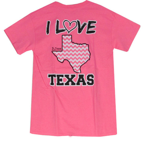 Bjaxx I Love Texas Pink Chevron State Southern Girlie Bright T Shirt - SimplyCuteTees