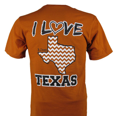 Bjaxx I Love Texas Orange Chevron State Southern Girlie Bright T Shirt - SimplyCuteTees