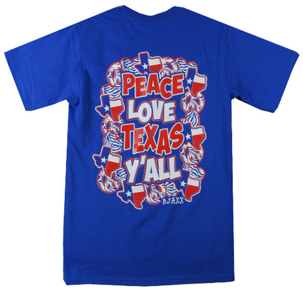 Bjaxx Peace Love and Texas Yall State Southern Girlie Bright T Shirt - SimplyCuteTees