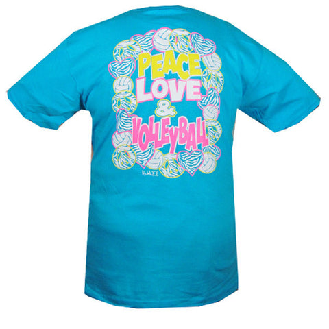 Bjaxx Peace Love Volleyball Blue Zebra Sports Girlie Bright T Shirt - SimplyCuteTees