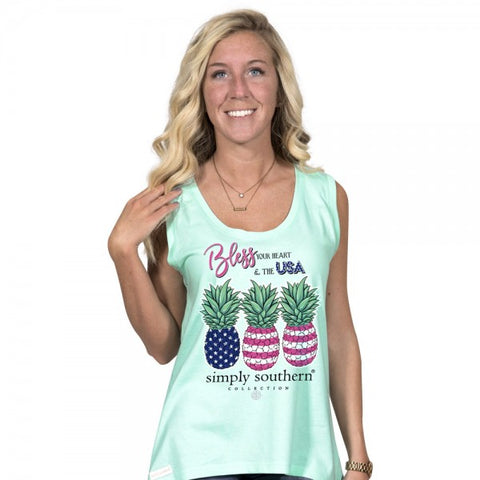 Simply Southern Preppy Bless The USA Pineapple Tank Top