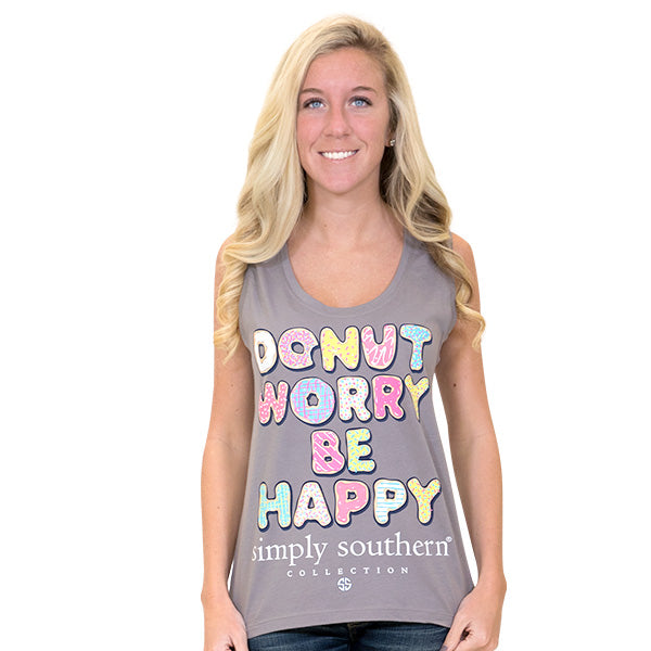 411510e2e87800 Simply Southern Preppy Donut Worry Be Happy Tank Top