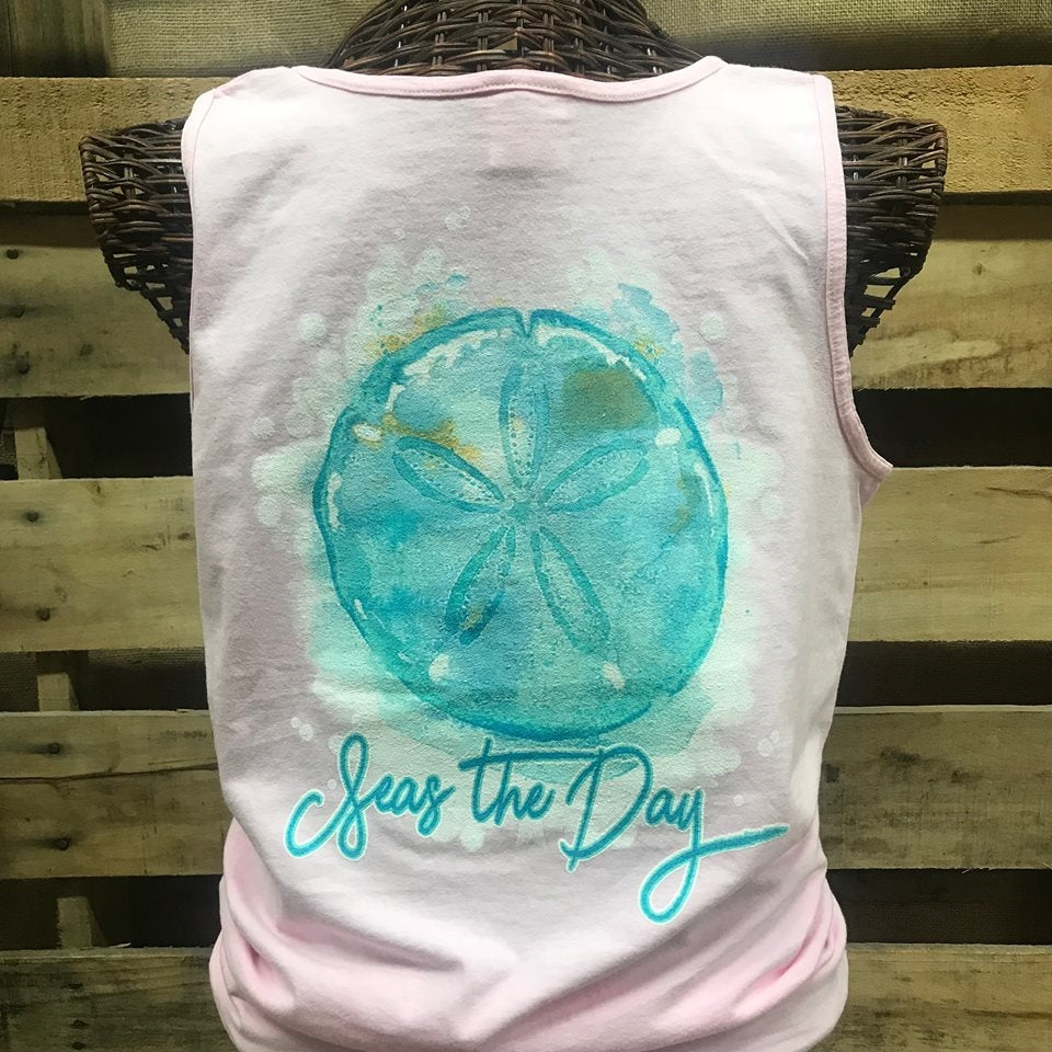 Southern Chics Seas the Day Beach Comfort Colors Bright Tank Top Shirt