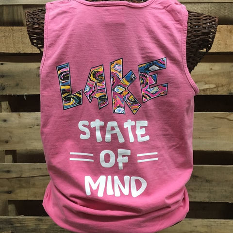 Southern Chics Lake State of Mind Comfort Colors Bright Tank Top Shirt