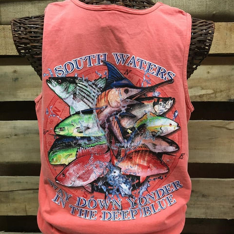 South Waters Way Down Yonder Fish Fishing Comfort Colors Unisex Bright Tank Top Shirt