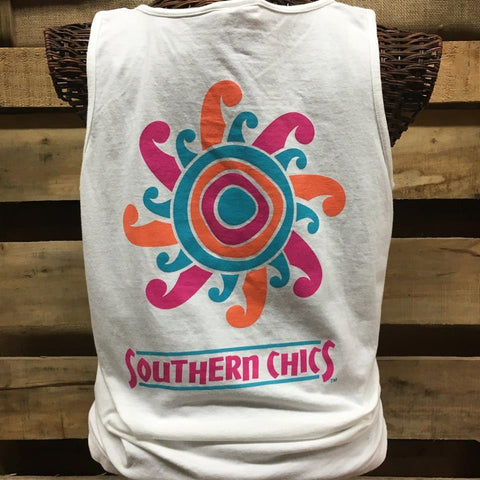 Southern Chics Comfort Colors Sun Sunshine White Girlie Bright T Shirt Tank Top