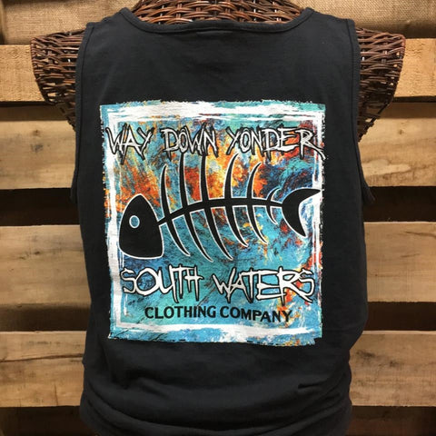 South Waters Comfort Colors Way Down Yonder Bone Fish Unisex Bright T Shirt Tank Top