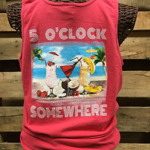 Southern Chics Apparel 5 O Clock Somewhere Drink Beach Comfort Colors Girlie Bright T Shirt Tank Top