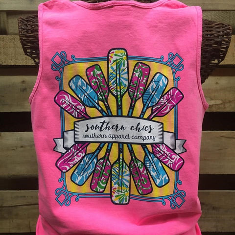Southern Chics Paddles Beach Comfort Colors Girlie Bright T Shirt Tank Top