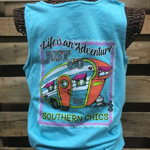 Southern Chics Life is an Adventure Just Go Comfort Colors Girlie Bright T Shirt Tank Top