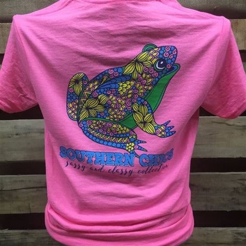 Southern Chics Preppy Floral Frog Girlie Bright T Shirt