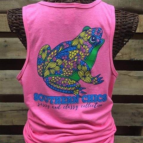 Southern Chics Preppy Floral Frog Comfort Colors Bright Tank Top Shirt