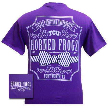 New Texas TCU Horned Frogs Pattern Prep Bow Girlie Bright T Shirt
