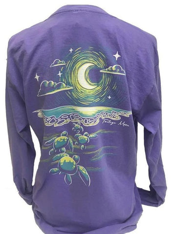 Southern Attitude Tortuga Moon To The Sea Turtles Comfort Colors Long Sleeve T-Shirt
