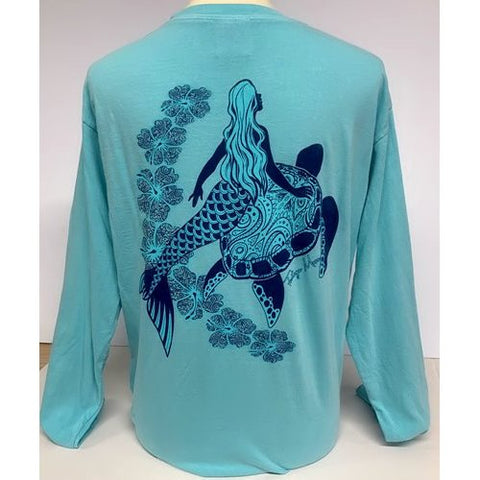 Southern Attitude Tortuga Moon Mermaid Turtle Comfort Colors Long Sleeve T-Shirt