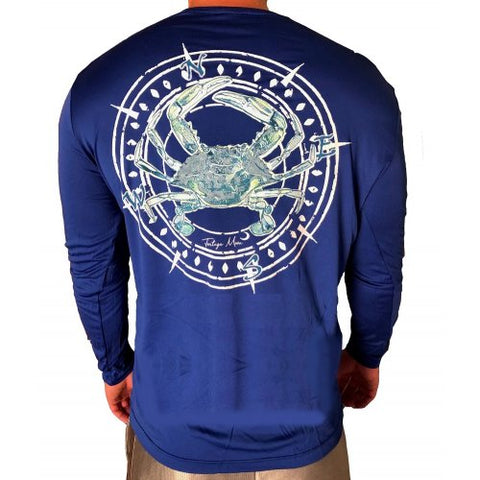 Southern Attitude Tortuga Moon Crab Unisex Sport Tech Blue T-Shirt