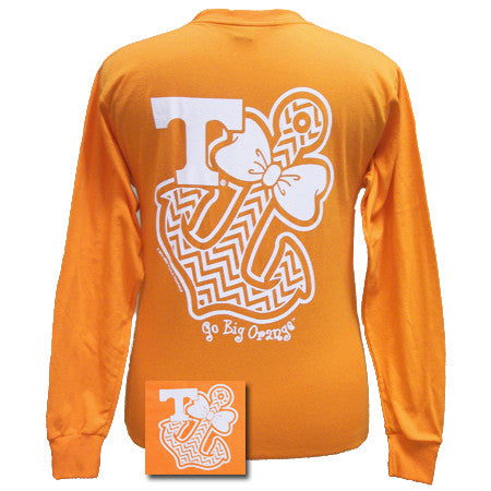 Tennessee Vols Chevron Anchor Bow Girlie Bright Long Sleeves T Shirt - SimplyCuteTees