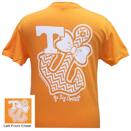 Tennessee Vols Chevron Anchor Bow Girlie Bright T Shirt - SimplyCuteTees