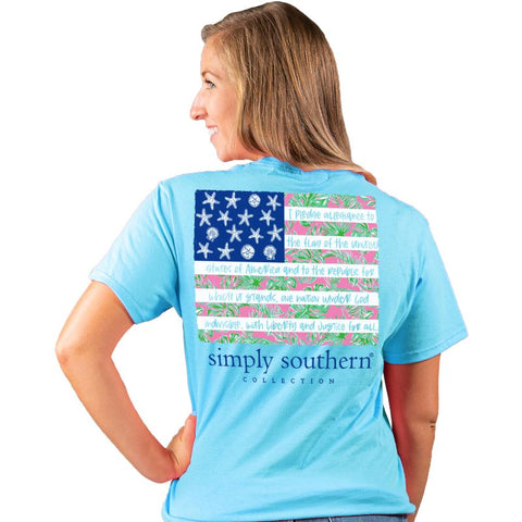 Simply Southern Preppy USA Tropical Flag T-Shirt