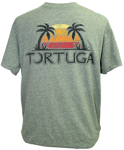 Southern Attitude Tortuga Moon Sunset Palms Soft Canvas T-Shirt