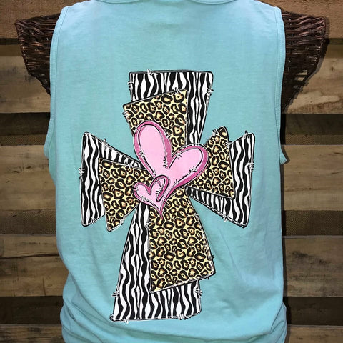 71b36a597740b Southern Chics Apparel Heart Cross Leopard Zebra Comfort Colors Girlie  Bright T Shirt Tank Top