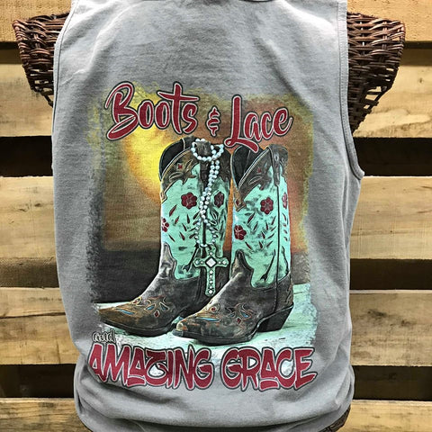 4d420f612814c Southern Chics Apparel Boots Lace   Amazing Grace Comfort Colors Girlie  Bright T Shirt Tank Top