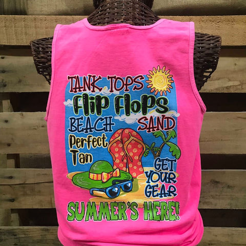 Southern Chics Summer's Here Tank Tops Flip Flops Beach Comfort Colors Girlie Bright T Shirt Tank Top