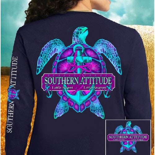 Country Life Outfitters Southern Attitude Snappy Turtle Anchor Bow Navy Vintage Girlie Bright Long Sleeve T Shirt - SimplyCuteTees