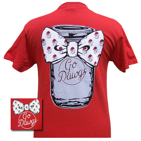 New Georgia Bulldogs Mason Jar Big Bow Girlie Bright T