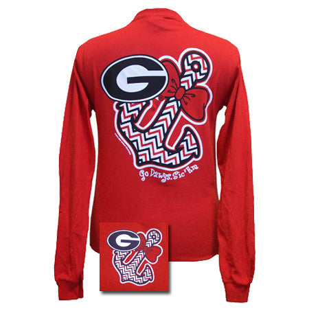 New Georgia Bulldogs Anchor Bow Girlie Bright Long Sleeves T Shirt